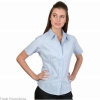 Ladies Stretch Yam Dyed Contrast Stripe Shirts