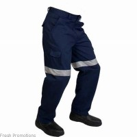 Cotton Drill Work Pants With Reflective Tape