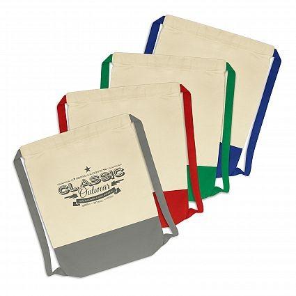 Unbleached Cotton Drawstring Backpacks Colour Range