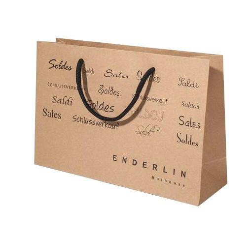 Brown Paper Shopping Bags With One Colouor Custom Printing
