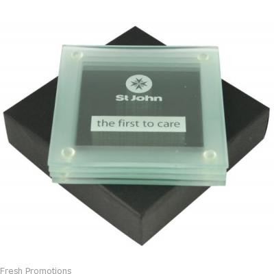 Frosted Glass Coaster Set