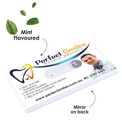 Dental Floss Dispenser Card With Mirror Custom Branded