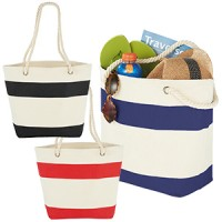 Striped Shopper Tote Bag