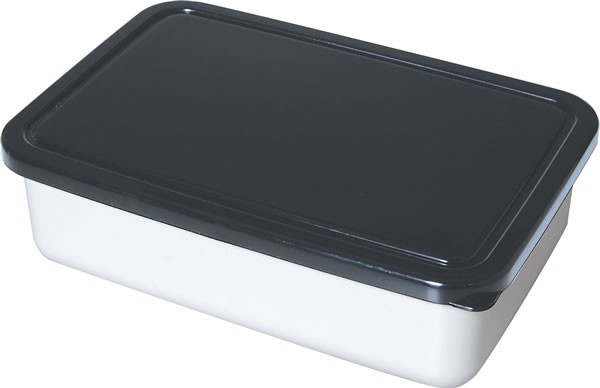 Shallow Lunch Box With Black Lid