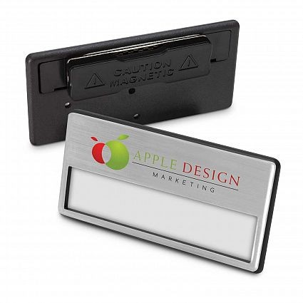 Magnetic Name Badge Silver