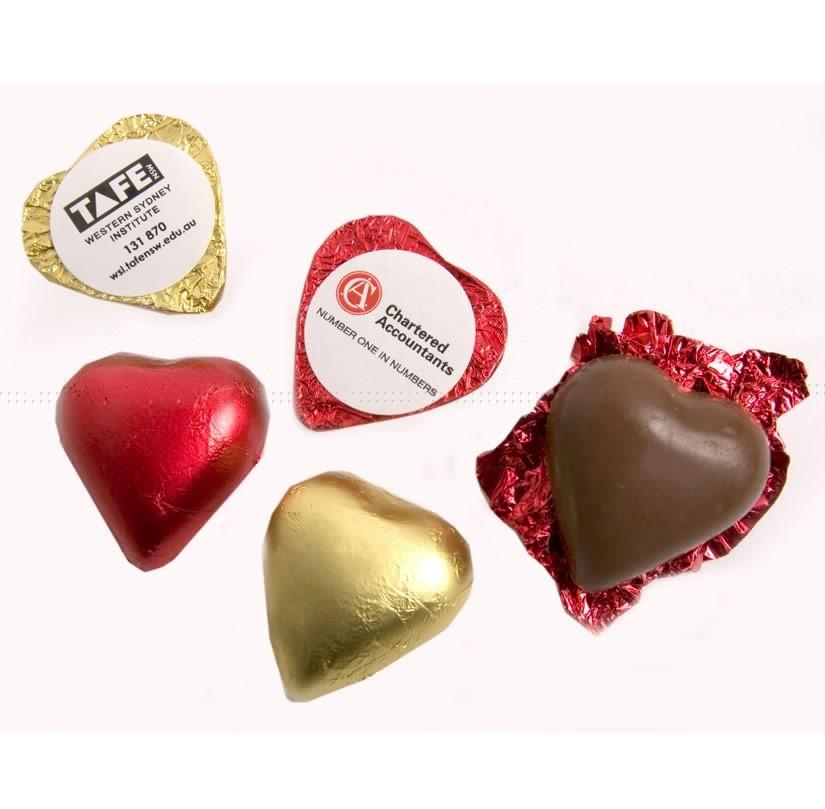 Custom Branded Chocolate Hearts
