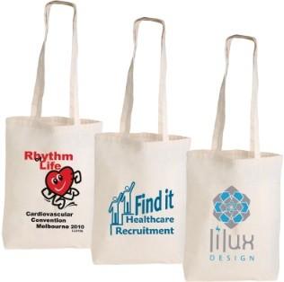 Custom Printed Long Handle Calico Bags
