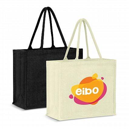 Gusset Jute Tote Bag Branded