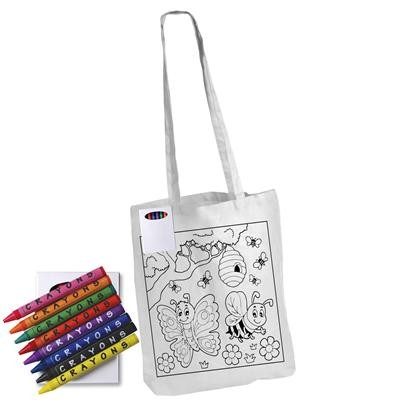 Colouring in Long Handle Cotton Tote Bag with Crayons White