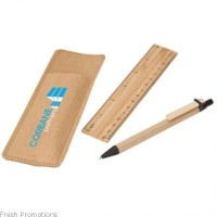 Bamboo Ruler & Recycled Paper Pen Set