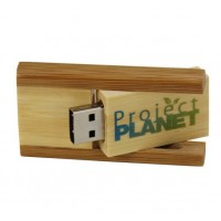 Square Wooden Swivel Flash Drive